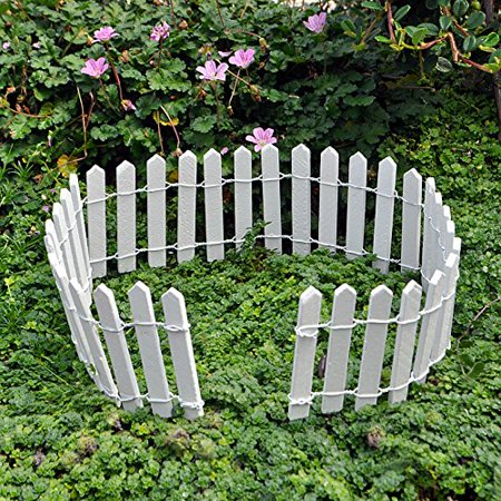 - Miniature Fairy Garden White Wood Picket Fence, 18