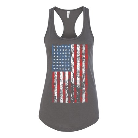 American Flag Tank Top - Distressed American Flag USA Patriotic Clothing Womens Racerback Tank Top