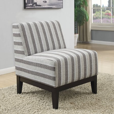 Coaster Striped Accent Chair In Grey Printed Fabric