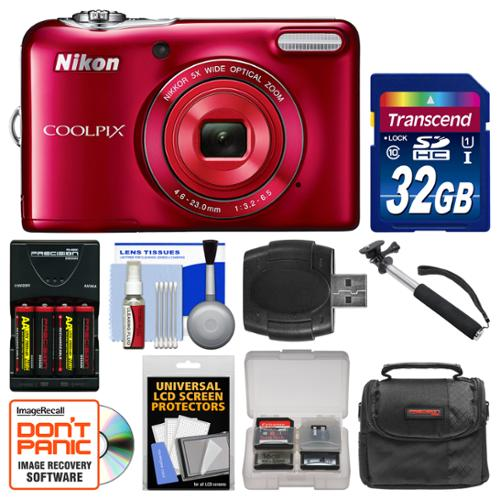 Nikon Coolpix L32 Digital Camera (Red) with 32GB Card + Case + Batteries & Charger + Selfie Stick + Kit