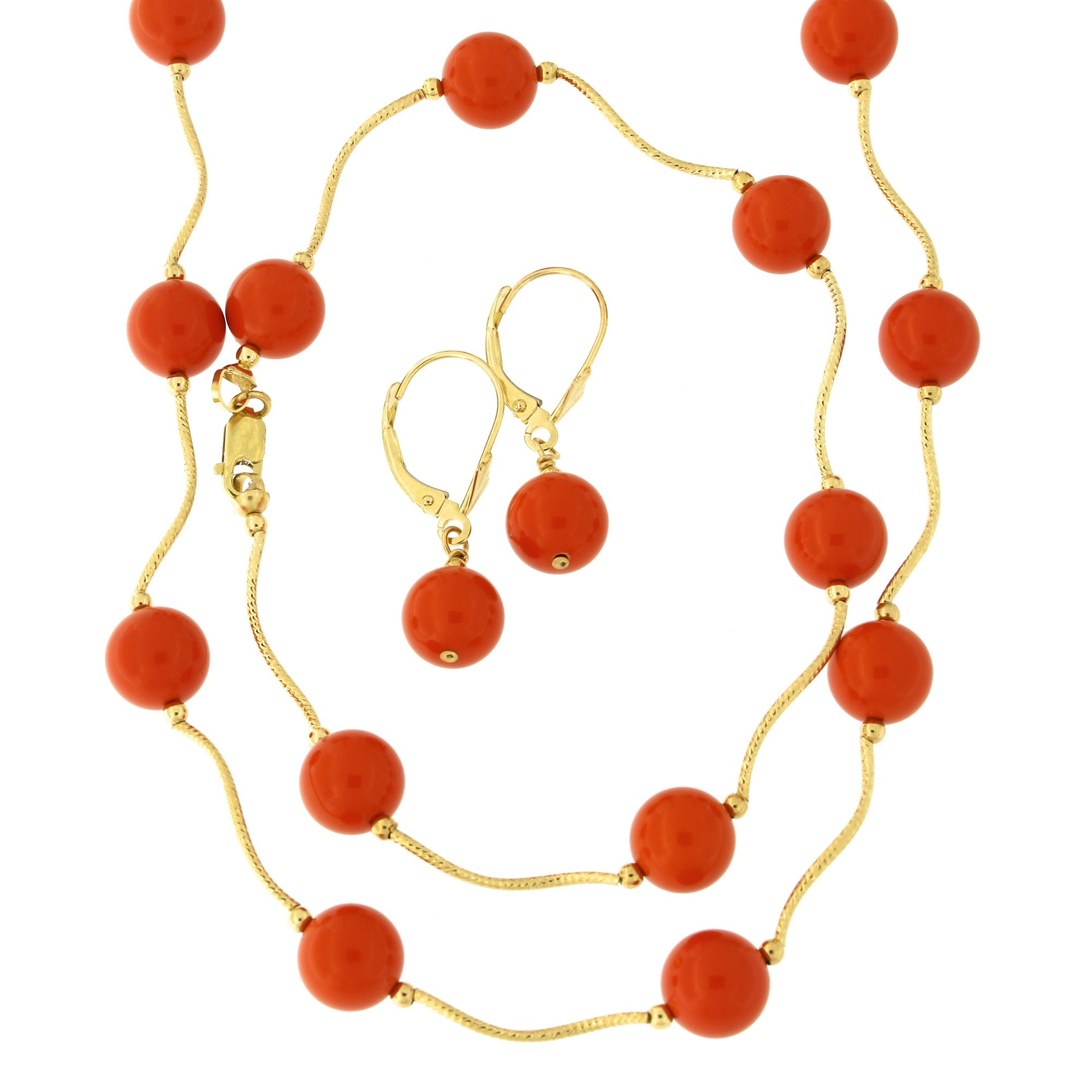 14k Yellow Gold Diamond Cut 8mm Simulated Coral Station Necklace, Earrings and Bracelet Set by
