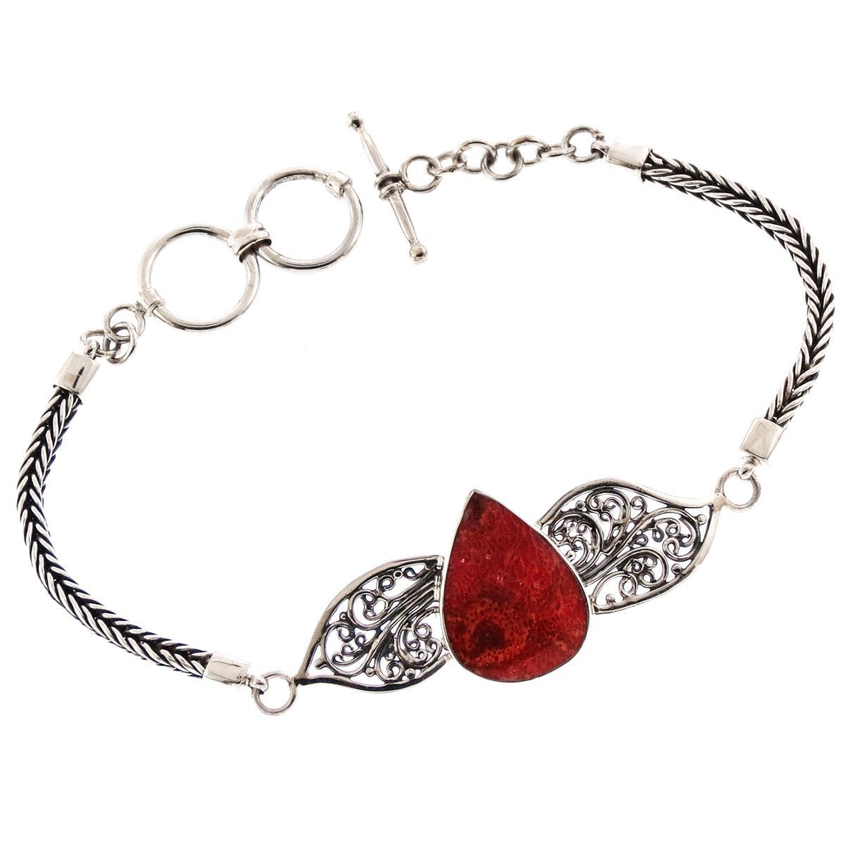 "Pear Red Sponge Coral 925 Sterling Silver Filigree Bracelet, 7 1 4-7 3 4"" by Firoma"