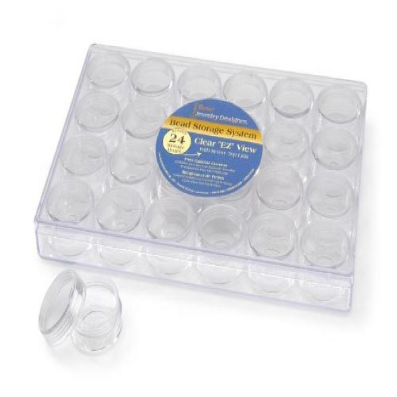Darice 2025-251 Clear Bead Container with 24 Storage Jars by Darice