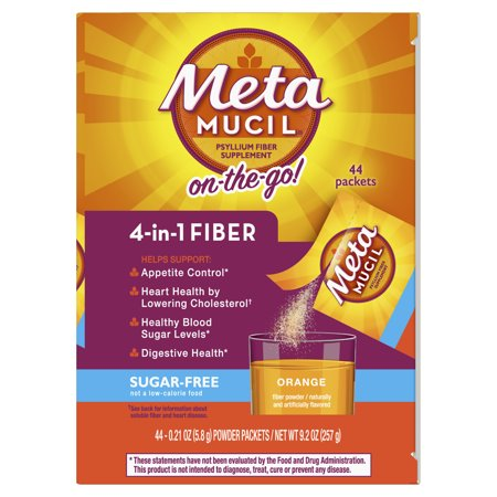 Metamucil Psyllium 4-in-1 Fiber Supplement Sugar Free - Orange - 44ct