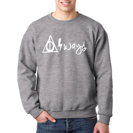 New Way 837 - Crewneck Harry Potter Always Hallows Lightning Bolt Sweatshirt 4XL Heather Grey