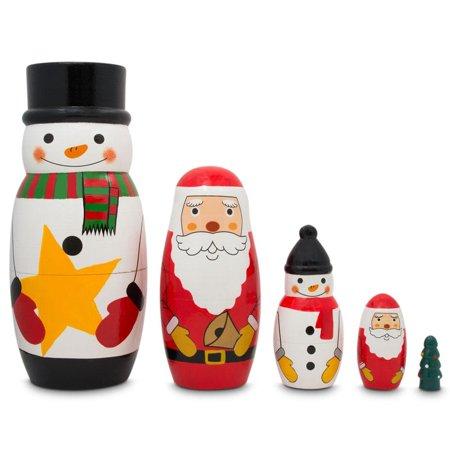 Dolly 5 Inch Chunky Heel - Santa Claus, Snowmen & Christmas Tree Wooden Nesting Dolls 5 Inches