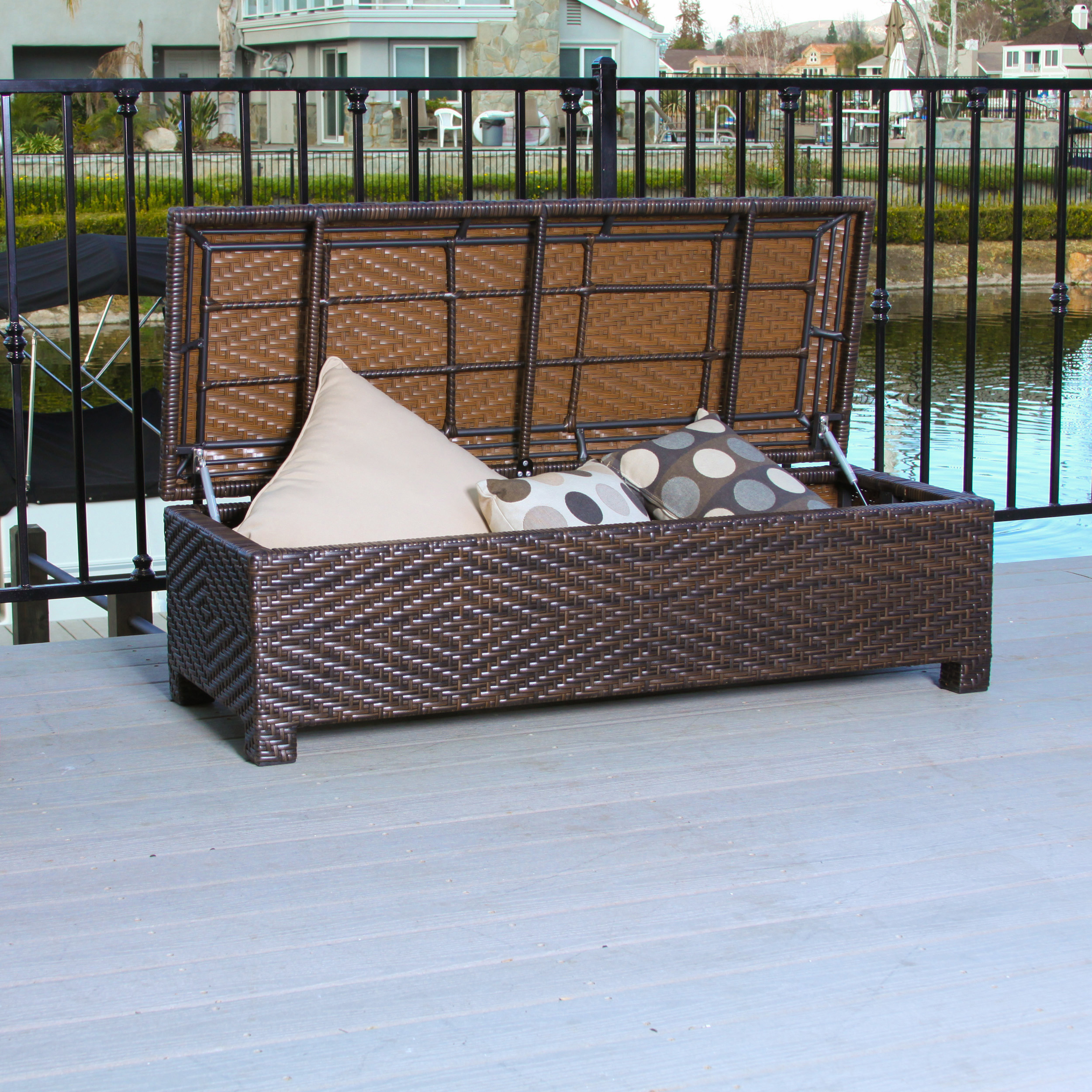 Outdoor Luis Wicker Storage Ottoman, Multi Brown