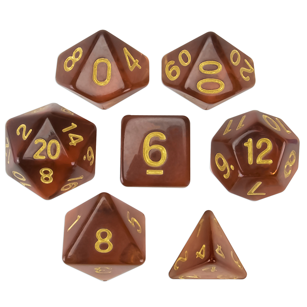 Wiz Dice Desert Topaz Set of 7 Polyhedral Dice in Display Case-Translucent Amber
