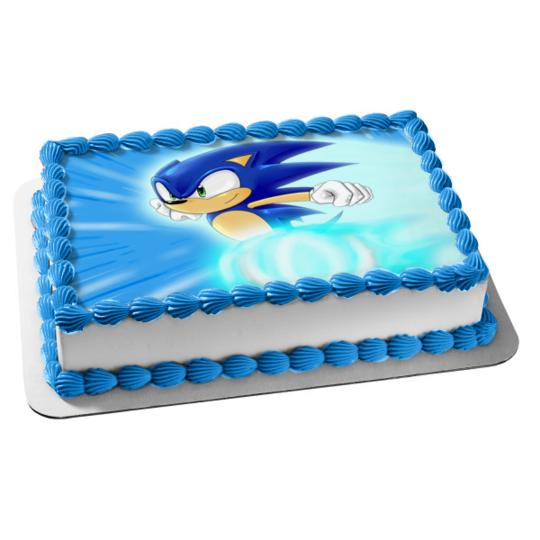 Sonic the Hedgehog Running Edible Cake Topper Frosting 1/4 Sheet Birthday Party Colettes Birthday Cakes