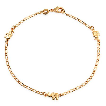 Three Mulit Lucky Elephant Charm Anklet Ankle Bracelet 18k Gold Plated Brass 9.5Inch
