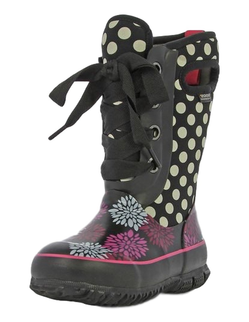 Bogs Boots Girls Kids Casey Pompons Lace Up Waterproof 71992 by Bogs