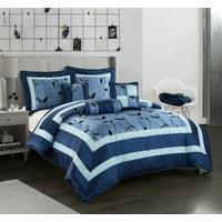 Nanshing Pastora Luxury 6-Piece Bedding Comforter Set with 3 BONUS Decorative Pillows, King, Blue