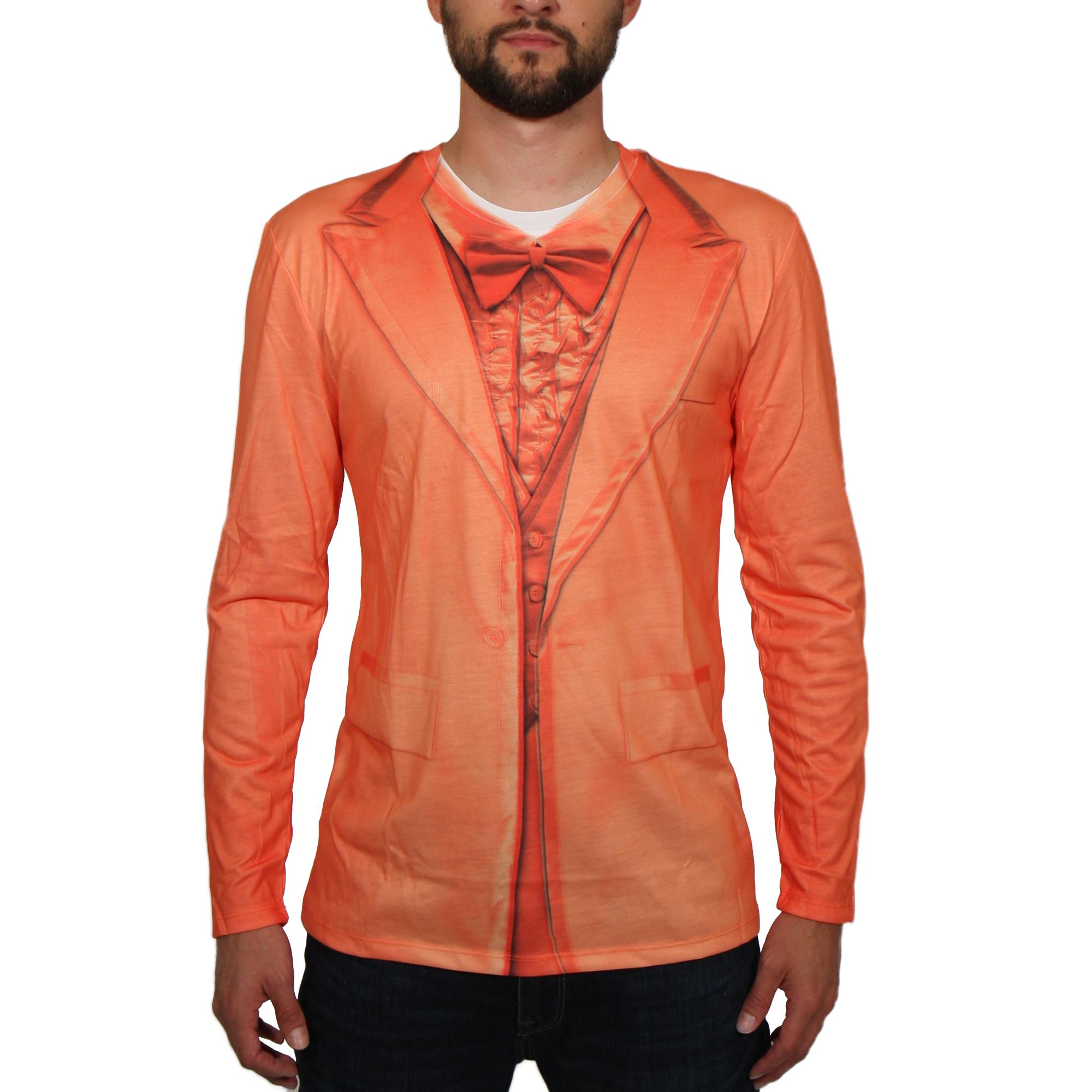 Orange Tuxedo Men's Long Sleeve Tee Shirt