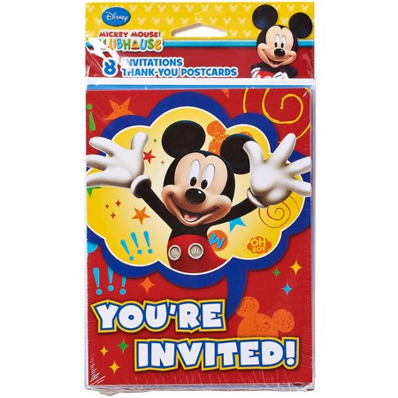Mickey Mouse Clubhouse Invite And Thank You Combo  8 Pack  Party Supplies