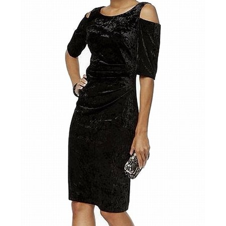Womens Cold Shoulder Velvet Sheath Dress 8