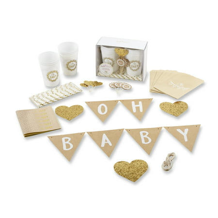 Oh Baby Rustic 73-Piece Baby Shower Kit (Girl Baby Shower Tableware)