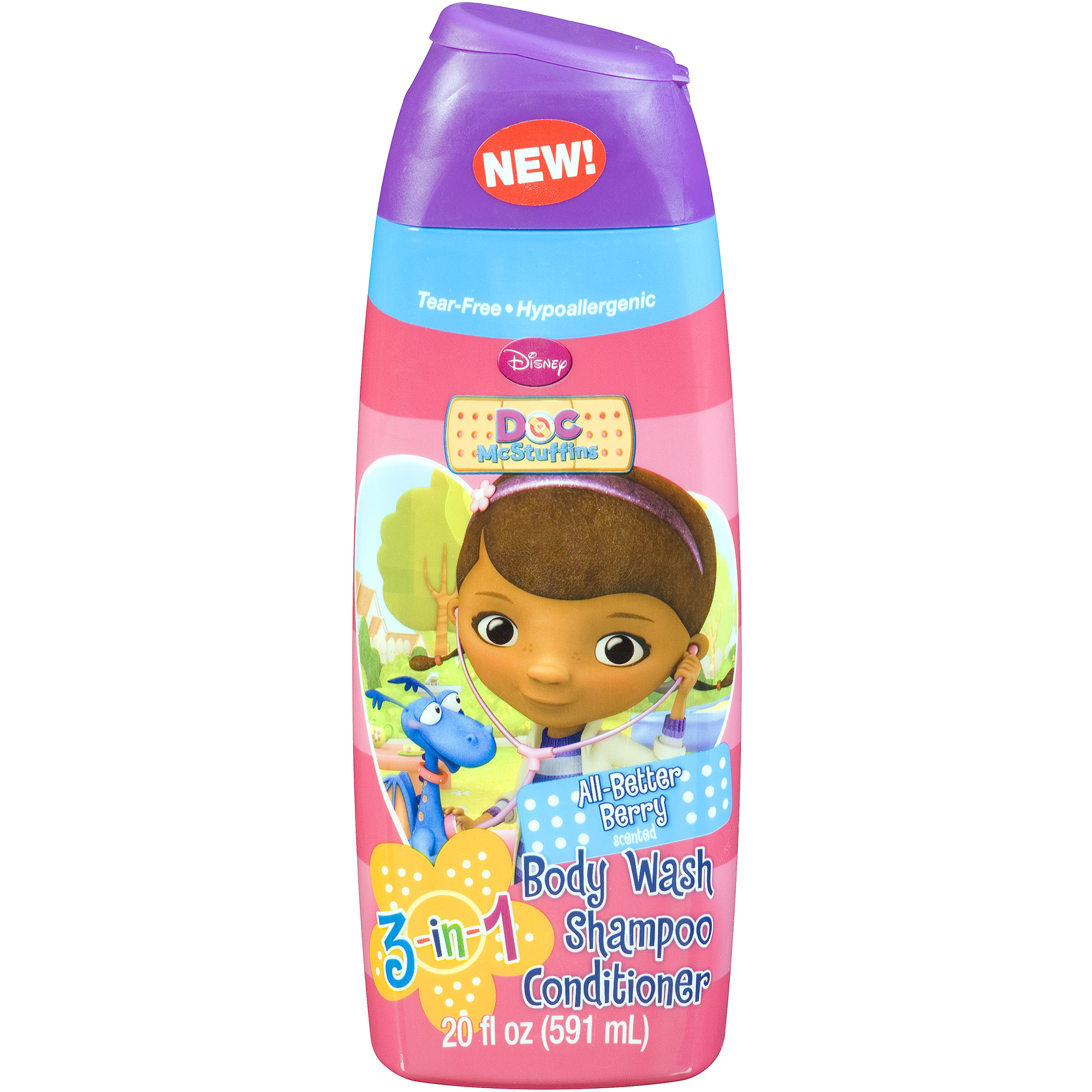Disney Doc McStuffins All-Better Berry 3-in-1 Body Wash, Shampoo, and Conditioner, 20 fl oz