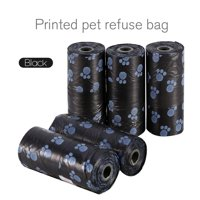 WALFRONT 5 Rolls Portable Printed Pet Puppy Dog Cat Waste Clean Poop Pick Up Garbage Bags,Garbage Bags, Waste Clean Poop Pick Up