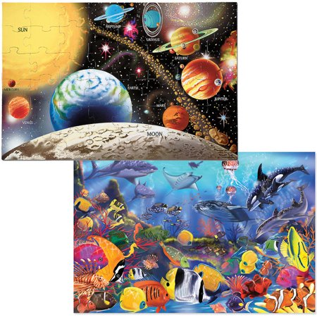 Melissa & Doug Jumbo Jigsaw Floor Puzzle Set, Solar System and Underwater, 2 x 3