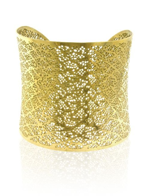 Wide Cuff Fashion Bangle In 14K Gold-Plated Stainless Steel