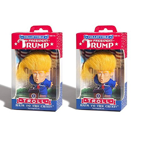 Set of 2 Collectible President Donald Trump Troll Doll - Hair to the Chief (Two Doll Set)
