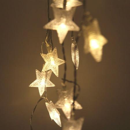 Mr.Garden String Lights 4.9ft with 10 LEDs, Star Lights for Bedroom, Patio, Garden, Gate, Yard, Parties, Wedding.(White) (Star String Lights)