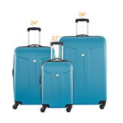 Delsey Comete Carry-on 24 Inch and 28 Inch - Teal 3 Piece Set Spinner