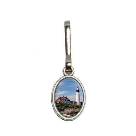 Head Zipper Pull - Portland Head Lighthouse ME - Atlantic Shore Oval Zipper Pull