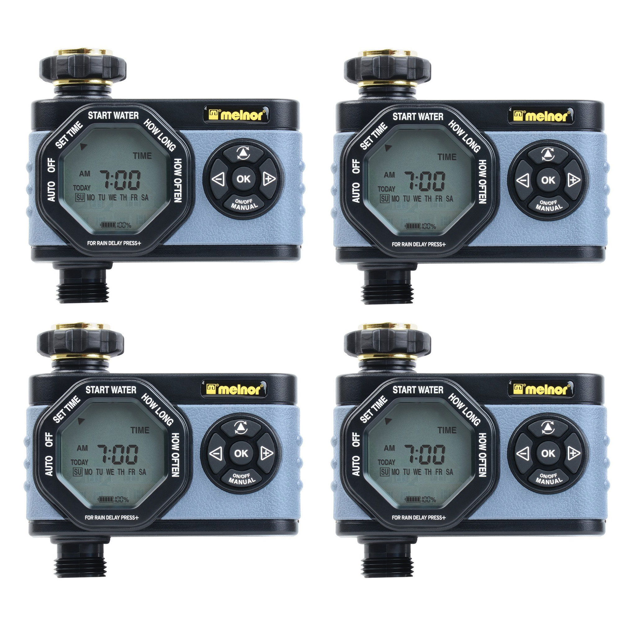 Melnor HydroLogic Digital Programmable Garden Water Timer & Controller (4 Pack)