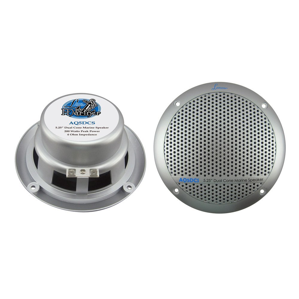 "AQ5DCS 300 Watts 5.25-Inch Dual Cone Marine Speakers - Silver Color - Set of 2, 5.25"" High Quality Polypropylene Cone - 15 Oz Magnet Structure - Includes.., By Lanzar"