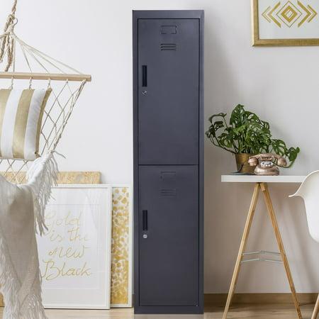 "- 71"" 2 Tier Freestanding Steel Metal Lockable Locker Storage Cabinet"