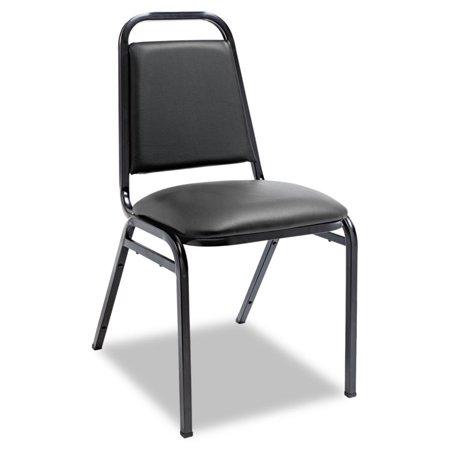 Vinyl Padded Stack Chair - Padded Steel Stack Chair W/square Back, Black Vinyl, Black Frame, 4/carton
