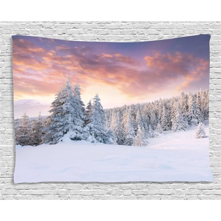Winter Tapestry  Sunrise In Winter Landscape Snowy Fields Frozen Pine Trees Northern Hemisphere  Wall Hanging For Bedroom Living Room Dorm Decor  80W X 60L Inches  Coral White Blue  By Ambesonne