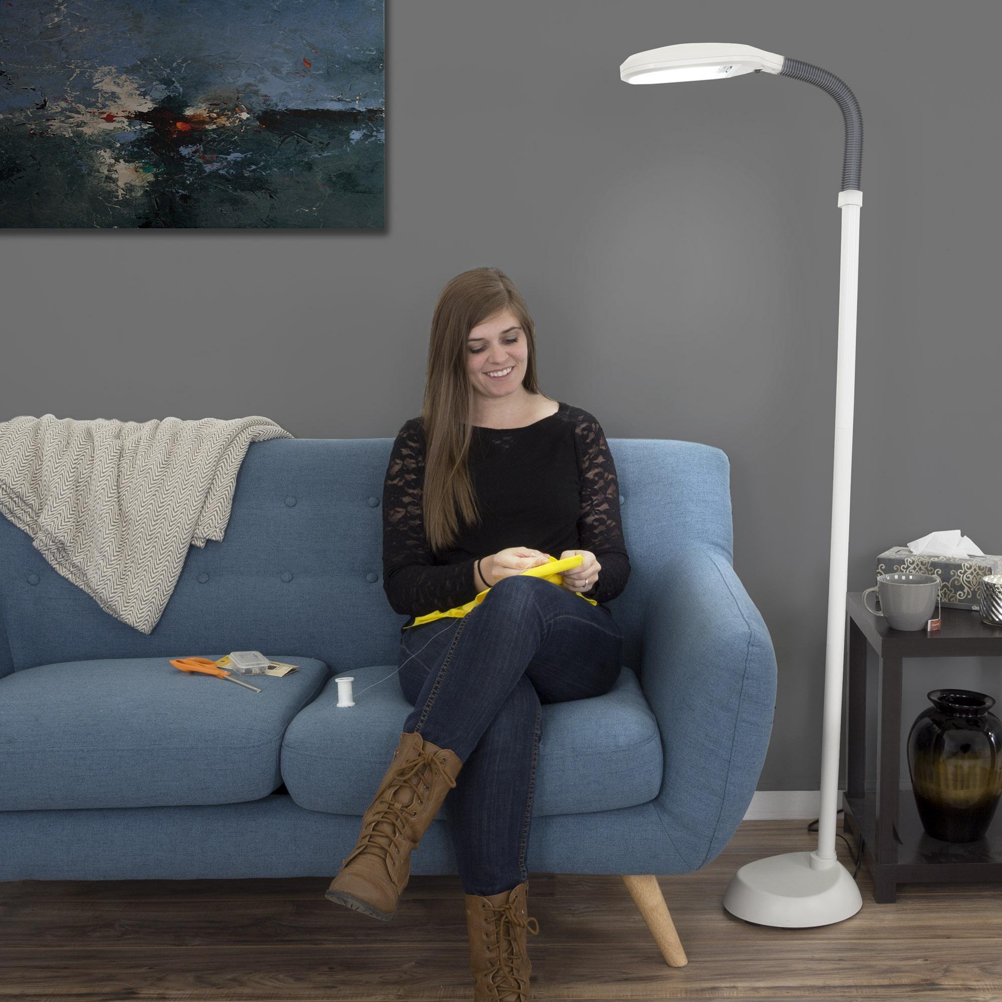 lavish home sunlight floor lamp, 6', white - walmart