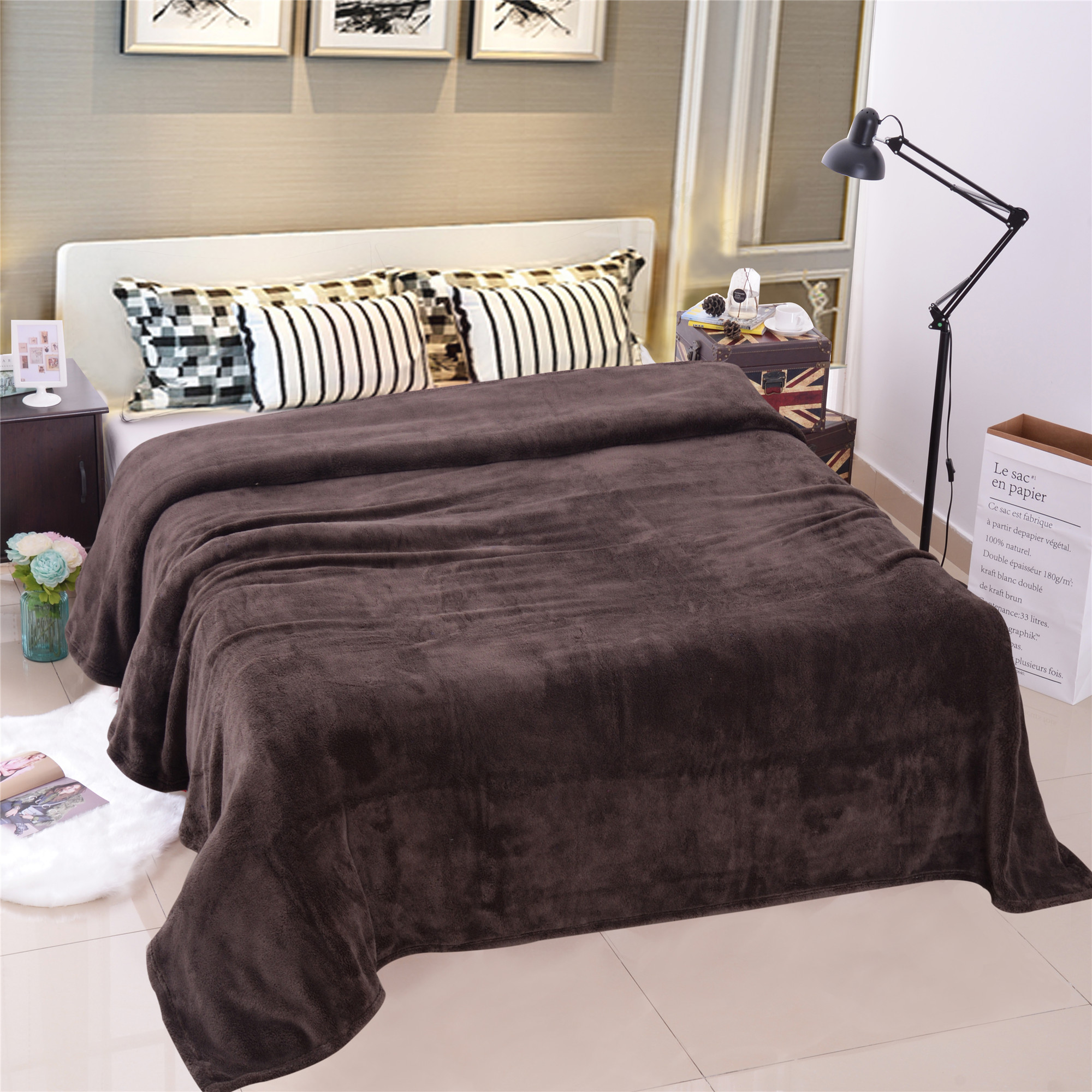 Bedroom Plush Fleece Throw Blanket Solid Brown Printed Warm Fleece Blanket For Sofa Couch... by JML