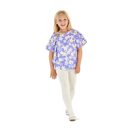 Made in Hawaii Girl Elastic Strap Hawaiian Luau Poncho Top in Pretty Plumeria in Purple - Hawaiian Shirts For Girls