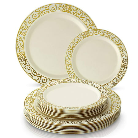 Gold Trimmed Fine China (40 pc Plastic Dinnerware Set | 20 Dinner Plates and 20 Side Plates | Elegant Fine China Look (Venetian Collection - Gold/Ivory))