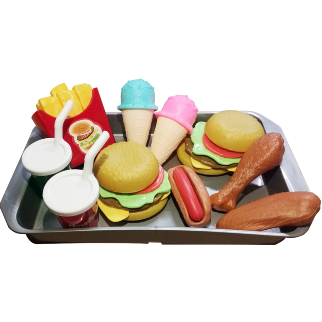 Outgeek Kids Toys Burger Fries Ice Cream Set Food Toys Kitchen Toys Simulation Toy Educational Toys Learning Toys Gift Toys for Boys Girls 3-6 Years