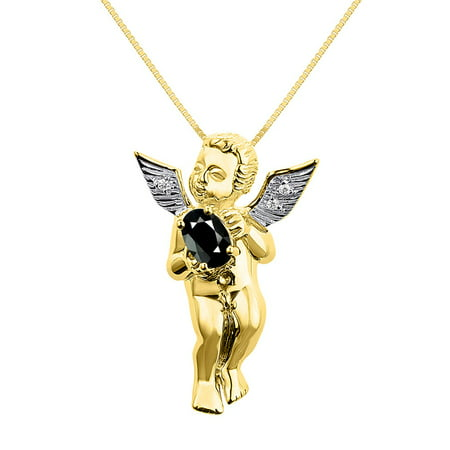 Angel Set Jewelry Set (Diamond & Onyx Lucky Guardian Angel Cherub Pendant Necklace Set In Yellow Gold Plated Silver .925 with 18