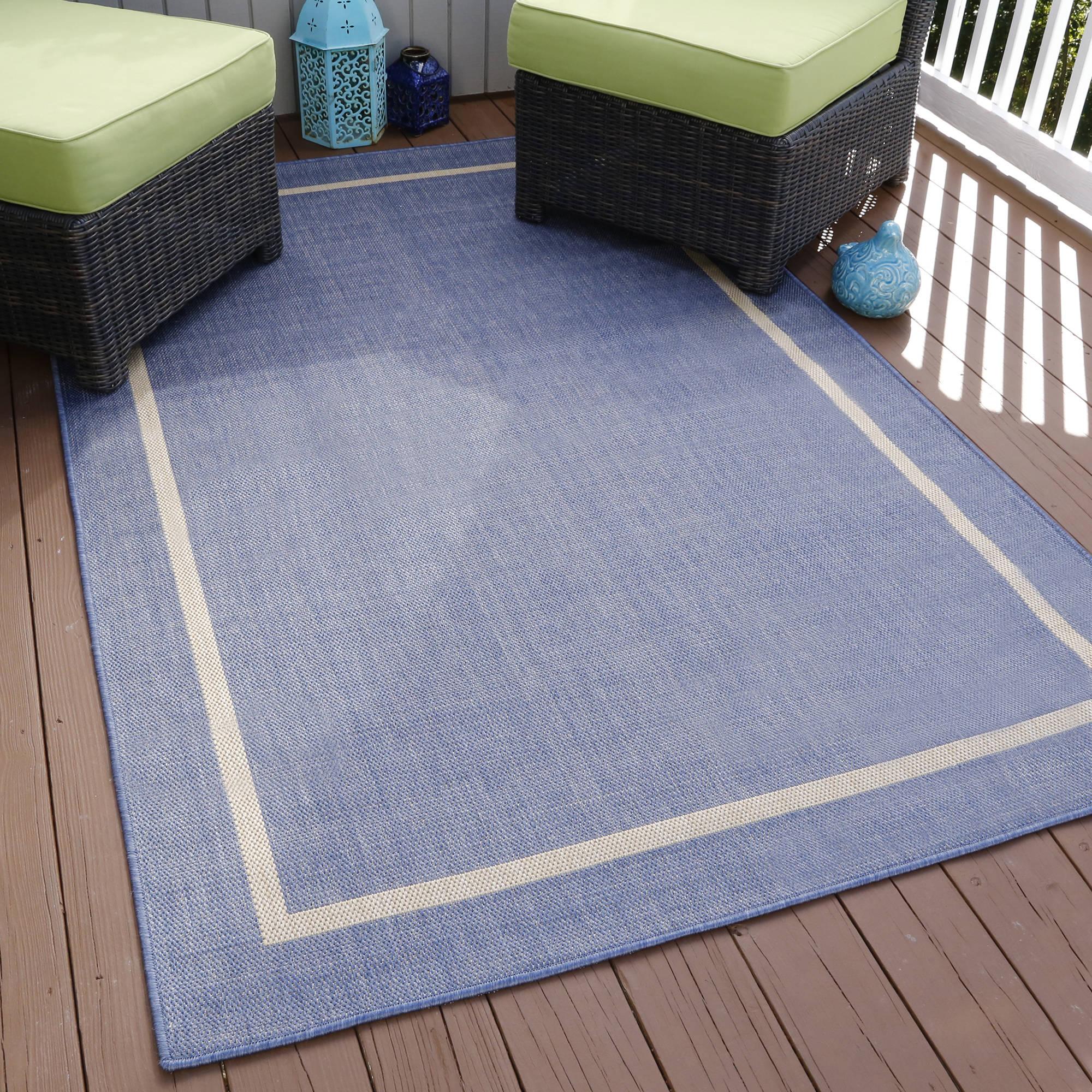 Somerset Home Border Indoor Outdoor Area Rug Blue 5 X 7