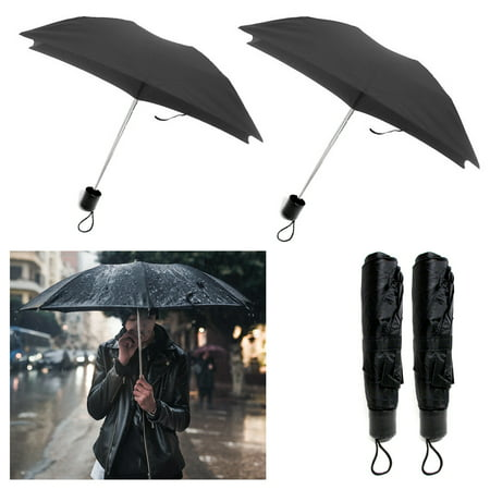 2 X Folding Umbrella Mini Portable Compact Emergency Weather Travel Black (Jeep Wrangler All Weather Umbrella)