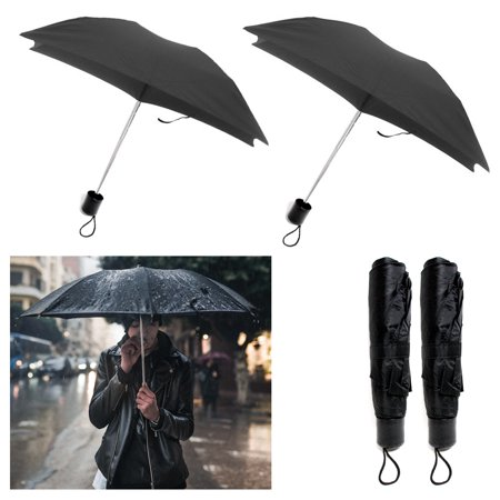 2 X Folding Umbrella Mini Portable Compact Emergency Weather Travel Black