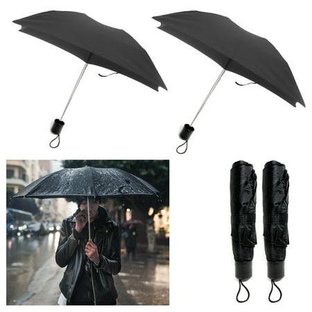 2 X Folding Umbrella Mini Portable Compact Emergency Weather Travel Black