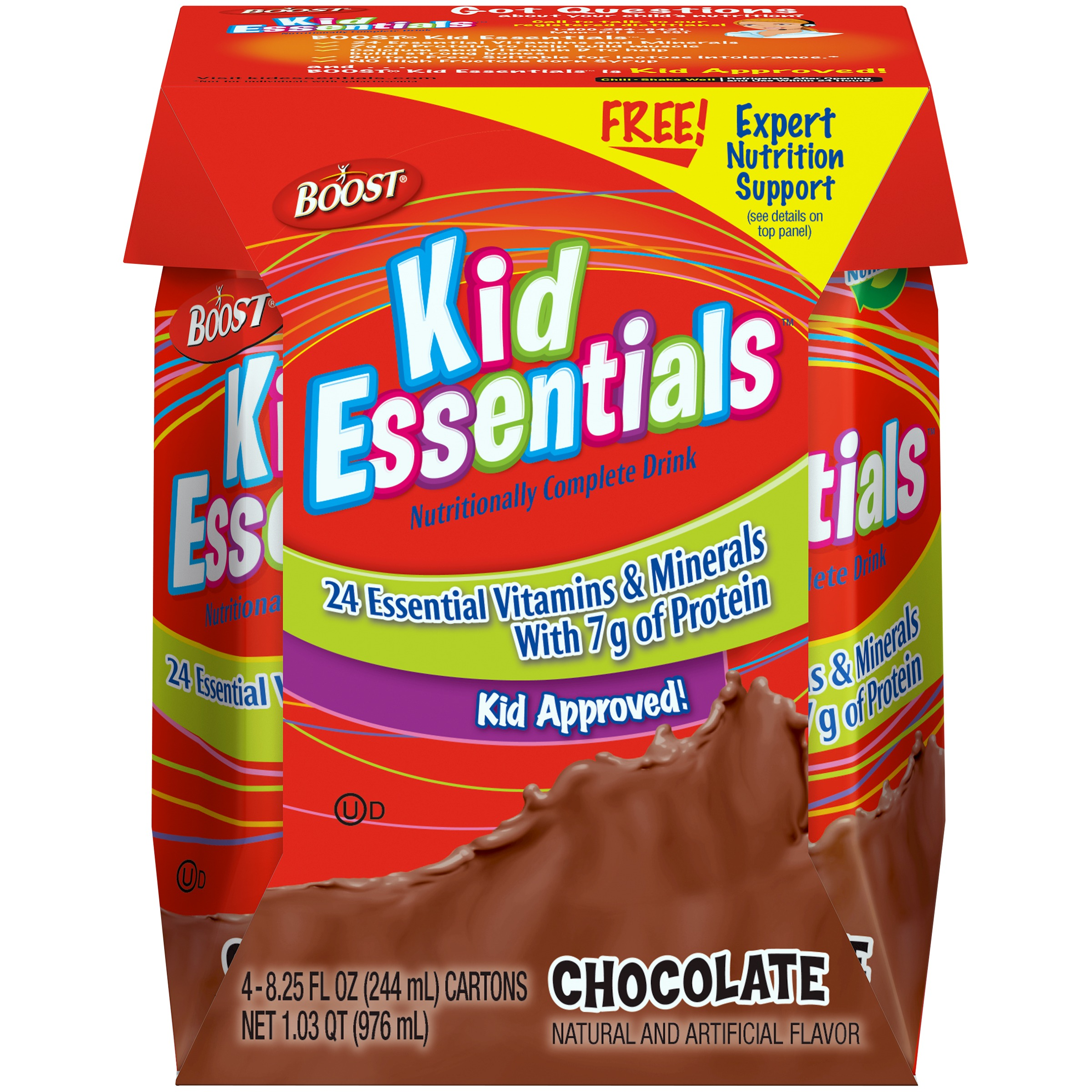 Boost Kids Essentials Chocolate Nutritionally Complete Drink, 8.25 Fl oz, 4 Ct