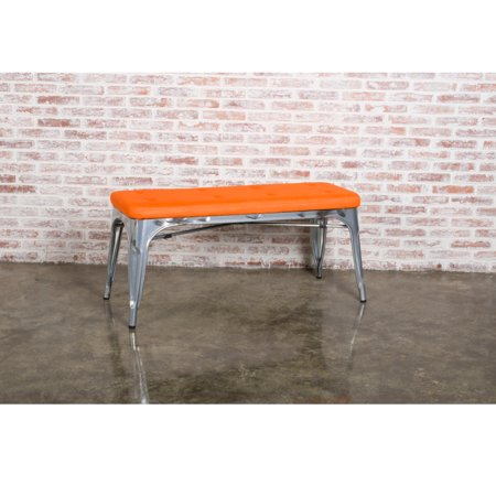 Urban Metal Vintage Design Living Room Accent Lounge Chair Orange Fabric
