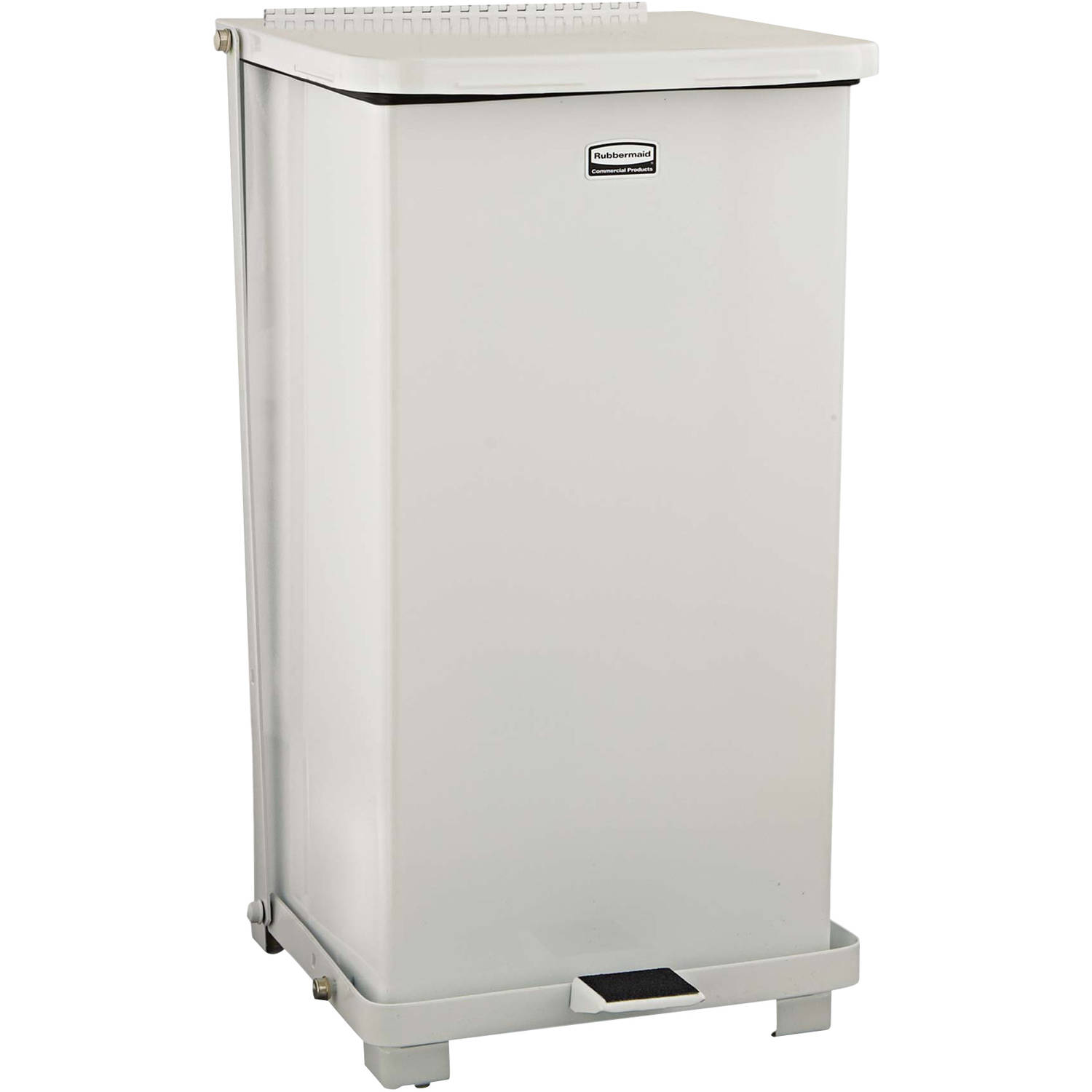 Rubbermaid Commercial Defenders White Square Steel Biohazard Step Can, 12 gal