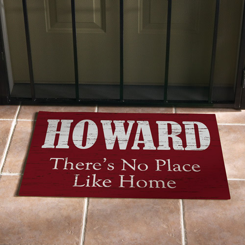 """Personalized """"No Place Like Home"""" Doormat, Red, 17"""" x 27"""""""