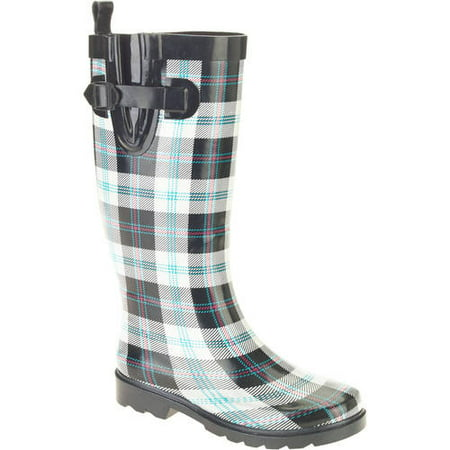 Women's Summer Plaid Printed Tall Rubber Rain Boots
