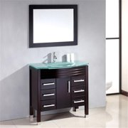 Cambridge Plumbing 8130 35 In Espresso Wood & Glass Basin Sink Vanity Set