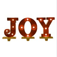 "Glitzhome 8.46""H Marquee LED Lighted ""JOY"" Stocking Holder Set"
